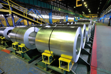 rolls of steel sheet in a plant