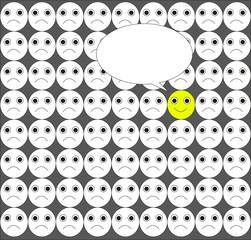 illustrazione vettoriale di folla e uno esprime la sua idea