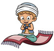 Vector illustration of boy sitting on flying carpet