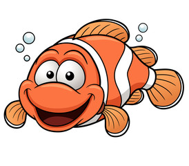 Vector illustration of Happy Clownfish Cartoon