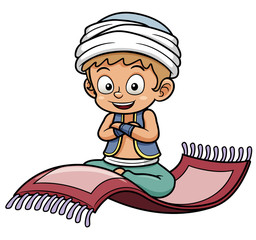 Vector illustration of boy sitting on flying carpet