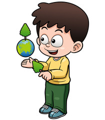 Vector illustration of Boy holding the planet earth