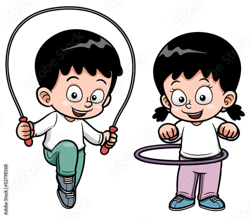 Vector illustration of Kids Exercising