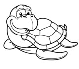 Vector illustration of Cartoon turtle - Coloring book