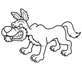 Vector illustration of Wolf cartoon - Coloring book