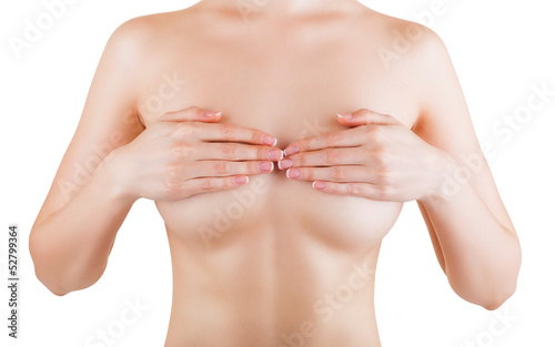 Female controlling breast