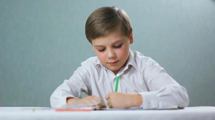 left-handed child , boy draws