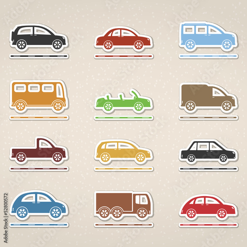 Colored Cars Icons