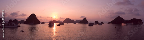 Purple sunset in Halong Bay, panorama
