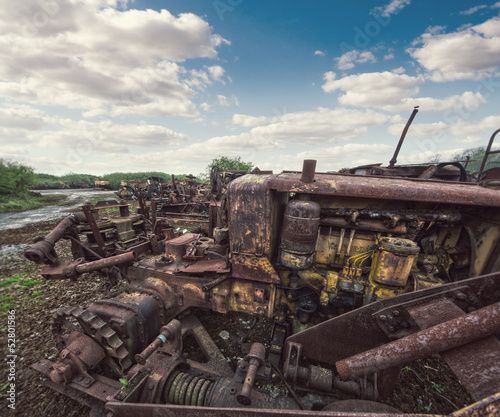 rusty scrap machinery
