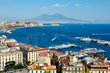 canvas print picture - wonderful Naples panoramic view with Vesuvius