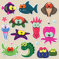 Vector cartoon funny sea animal stickers set