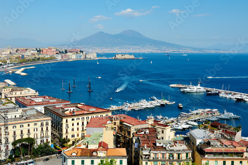 canvas print picture wonderful Naples panoramic view with Vesuvius