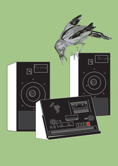 tape recorder and crow