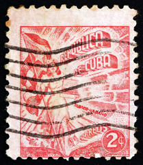 Postage stamp Cuba 1948 Liberty Carrying Flag and Cigars