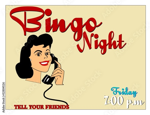 bingo night invitation with copy space