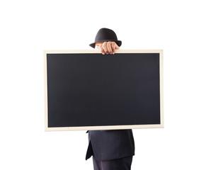 Businessman holding a blackboard.