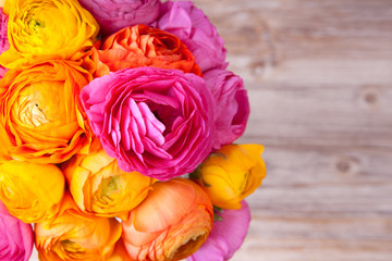 Bouquet of beautiful colorful ranunculus flower on wooden backgr