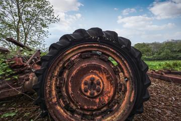 broken tractor wheel