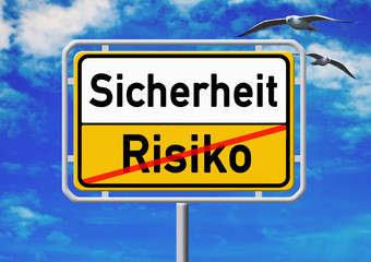Ortsschild - Sicherheit - Risiko