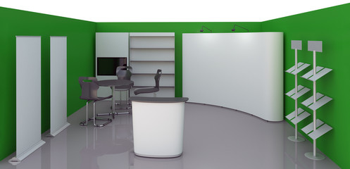 Green Empty booth space