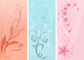 Pastel color vertical floral vector banners.