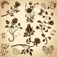 Rose vintage vector design elements