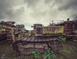 decaying construction vehicles