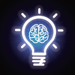 Vector light bulb and brain icon