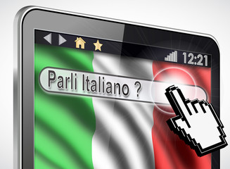 tablette et drapeau Italien : parli italiano