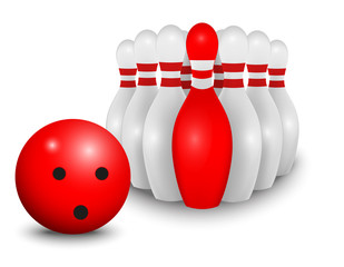 Bowling ball and pin. business concept