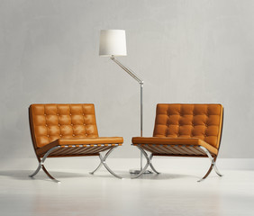 Luxury classic orange leather armchairs with lamp