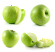 Green apple collection isolated on white