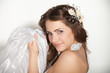 Happy beautiful bride over white background
