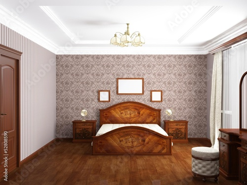 Bedroom, 3D rendering