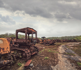 abandoned construction vehicles