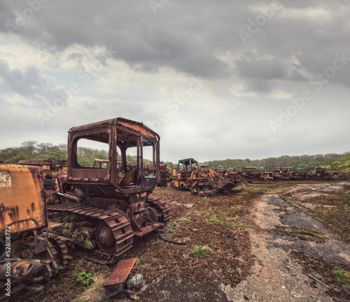 abandoned construction vehicles