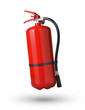 fire extinguisher in the air on white background