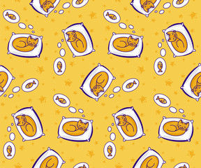 Seamless pattern with cute cat dreaming of fish