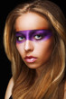Fantasy. Coloring. Woman with Shiny Colorful Makeup. Faceart