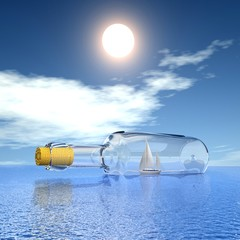 Yacht in the bottle on seascape. Concept - protection of travel.