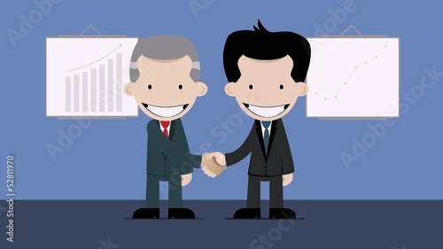 business handshake with flash