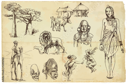 African collection 2 - hand drawings into vector set