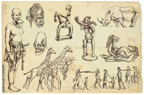 African collection 1 - hand drawings into vector set