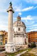Trajan's Column And Santa Maria di Loreto Church