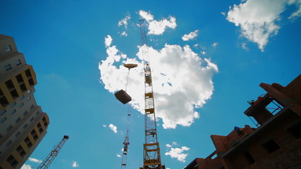 The crane at a construction site