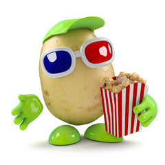 3d Potato man eats popcorn at the cinema