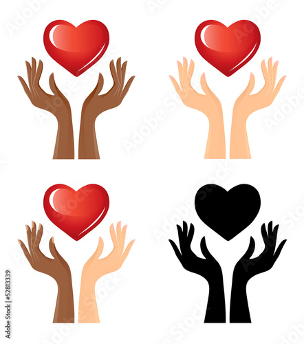 Hands und heart, set of graphics