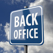 Road sign blue with words Back Office