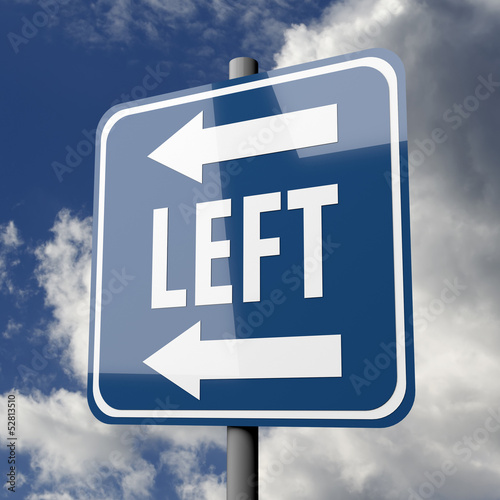 Road sign blue with word LEFT